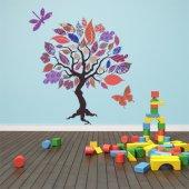 Adesivo Murale bambino albero farfalla libellula