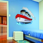 Adesivo Murale bambino barca