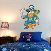 Adesivo Murale bambino baule pirata