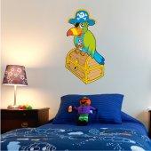 Adesivo Murale bambino baule uccello