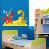 Adesivo Murale bambino cavaliere e drago