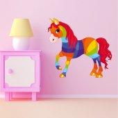 Adesivo Murale bambino cavallo arcobaleno