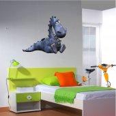 Adesivo Murale bambino drago blu