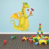 Adesivo Murale bambino drago e bambina