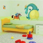 Adesivo Murale bambino drago e cavaliere
