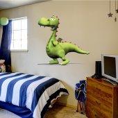 Adesivo Murale bambino drago verde