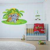 Adesivo Murale bambino elefante topolino