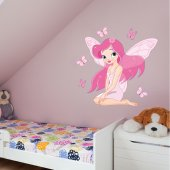 Adesivo Murale bambino fata farfalla