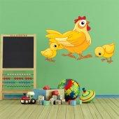 Adesivo Murale bambino gallina e pulcini