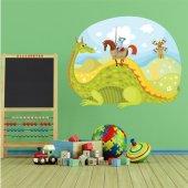 Adesivo Murale bambino paesaggio cavalieri e drago