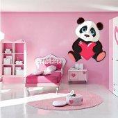 Adesivo Murale bambino panda cuore