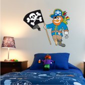 Adesivo Murale bambino pirata bandiera