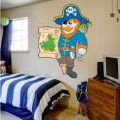 Adesivo Murale bambino pirata pergamena