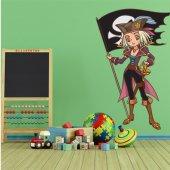 Adesivo Murale bambino ragazza pirata e bandiera