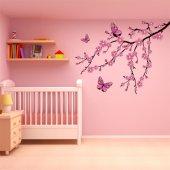 Adesivo Murale bambino ramo farfalle