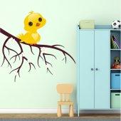 Adesivo Murale bambino ramo uccello