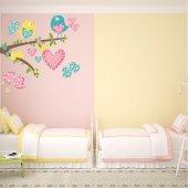 Adesivo Murale bambino uccelli farfalle