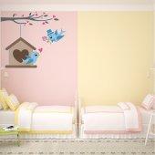 Adesivo Murale bambino uccelli innamorati