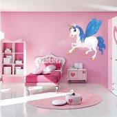 Adesivo Murale bambino unicorno ali azzurre