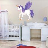 Adesivo Murale bambino unicorno ali lilla