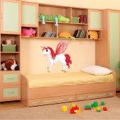 Adesivo Murale bambino unicorno ali rosse
