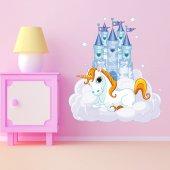 Adesivo Murale bambino unicorno castello