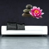 Adesivo Murale ciottoli fiore di loto