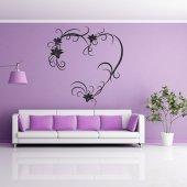 Adesivo Murale cuore fiori