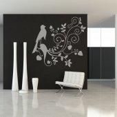 Adesivo Murale fiore uccello