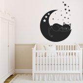 Adesivo Murale gatto luna
