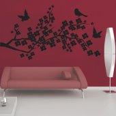 Adesivo Murale ramo di ciliegio uccelli