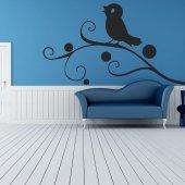 Adesivo Murale ramo uccello