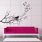 Adesivo Murale ramo uccello musica