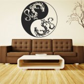 Adesivo Murale ying yang drago