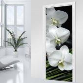 Adesivo per porte - orchidea bianca