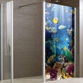 Adesivo traslucido per box doccia pesci