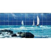 Autocolante Azulejo mar barco