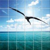 Autocolante Azulejo mar gaivota