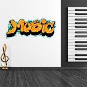 Autocolante decorativo graffiti música