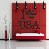 Autocolante decorativo i love USA