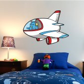 Autocolante decorativo infantil avião
