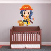 Autocolante decorativo infantil menina pirata
