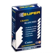Box of 10 white chalk sticks