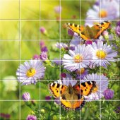 Butterfly Flowers - Tiles Wall Stickers