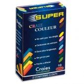 Caixa de 10 paus de giz coloridos