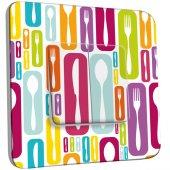 Interrupteur Décoré Double va et vient  Cuisine Couvertes Design Multicolorés