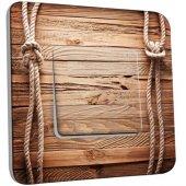 Interrupteur Décoré Poussoir bois marin cordes