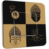 Interrupteur Décoré Poussoir Bouddha Zen Black&Gold