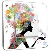 Interrupteur Décoré Poussoir Femme en Fleurs Design 1