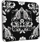 Interrupteur Décoré Poussoir Fleurs Abstrait Black&White 1